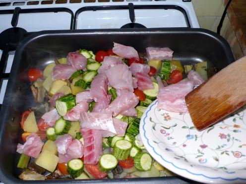 potatoes, artichokes, zucchini, tomatoes and persico au gratin