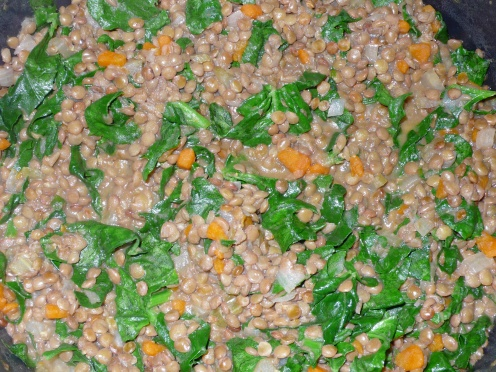 lentils, carrots, celery, onions & spinach