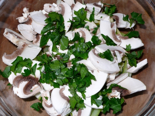 mushroom, celery and parsley