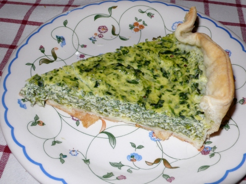 slice of spinach and ricotta pie