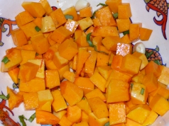 cubed butternut squash with olive oil and sage