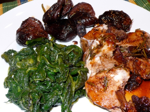 roasted pork loin with figs and cicoria