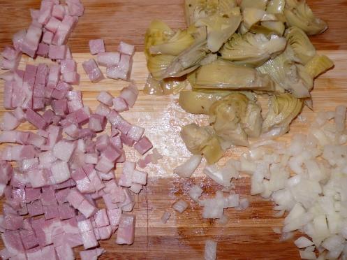 pancetta, artichokes & onions