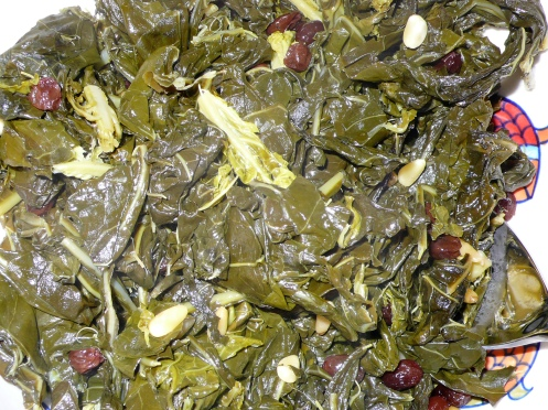 collards with raisins and pine nuts