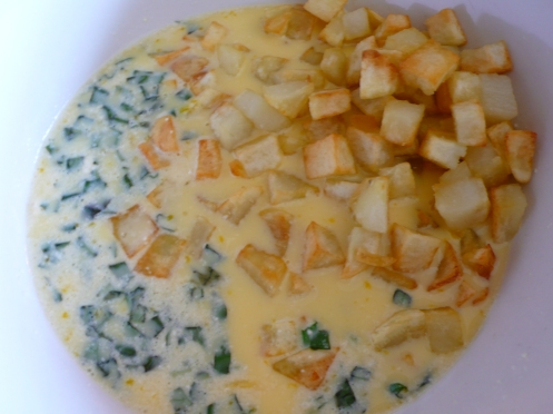 eggs, basil and patate