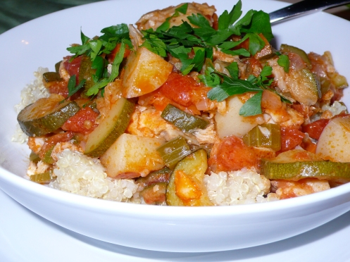 fish stew over quinoa