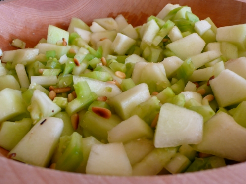honeydew melon and green tomato salad