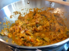 bell squash with bacon, carrots, celery and onions
