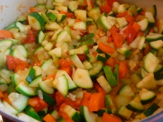 zucchini, carrots, onions and tomatoes