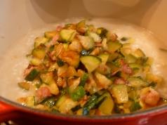 zucchini & bacon in risotto