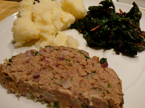 polpettone, mashed potatoes and sautéed swiss chard